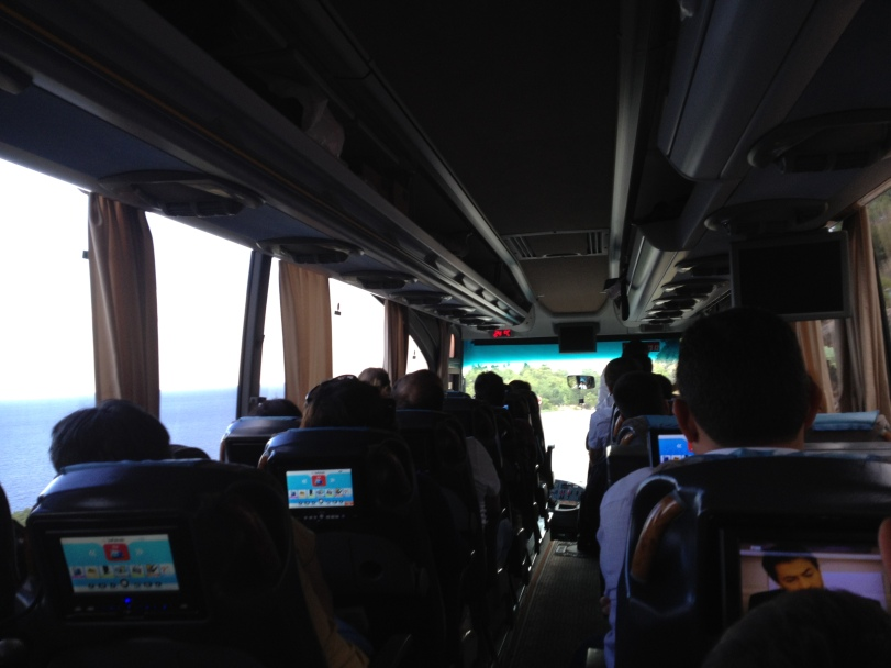 Turkish buses are equipped with tv monitors in the backs of seats. Sometimes they work!