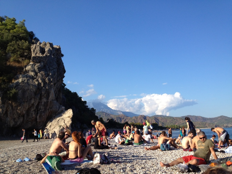 bustling beach at Olympos