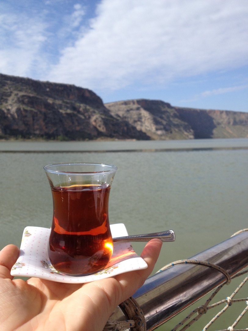 Tea on a boat on the Euphrates River