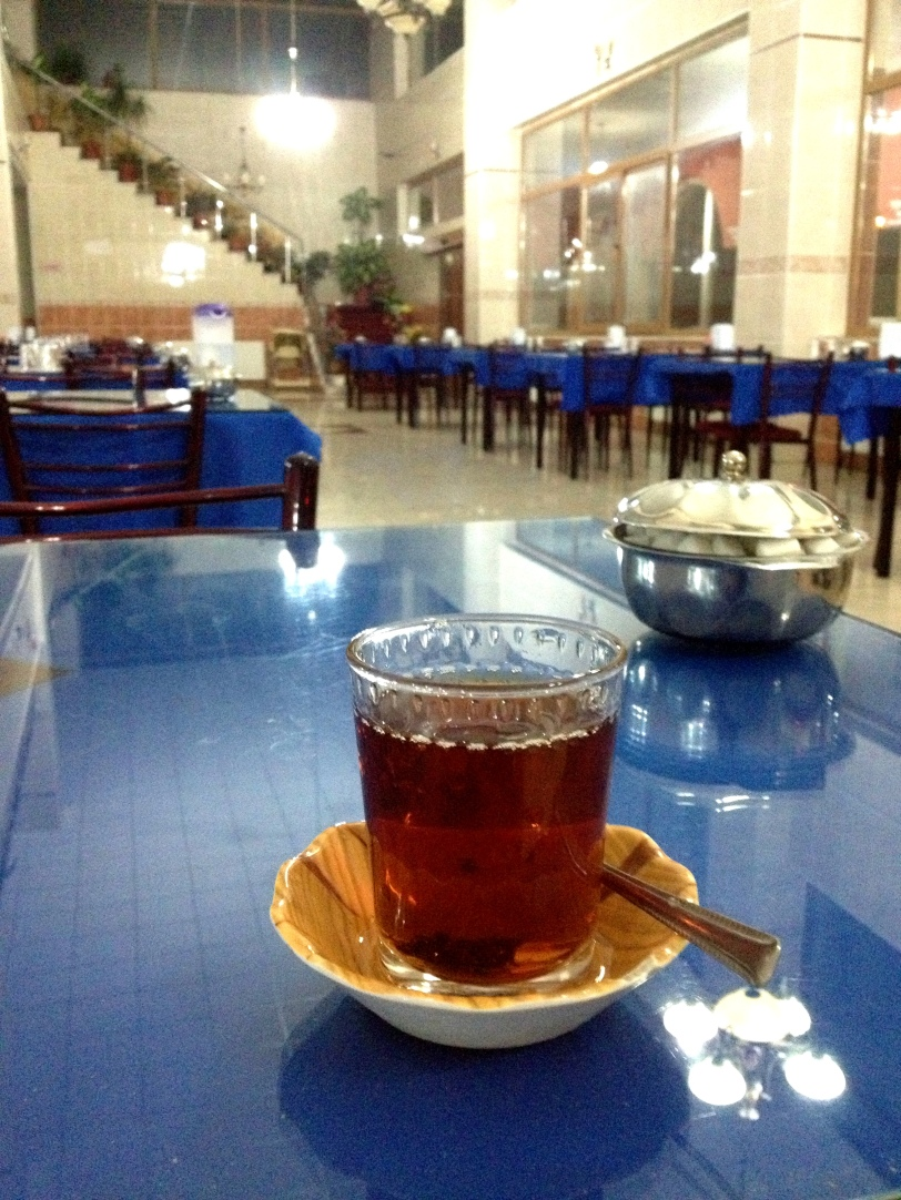 Taking tea somewhere in Eastern Turkey in the middle of the night