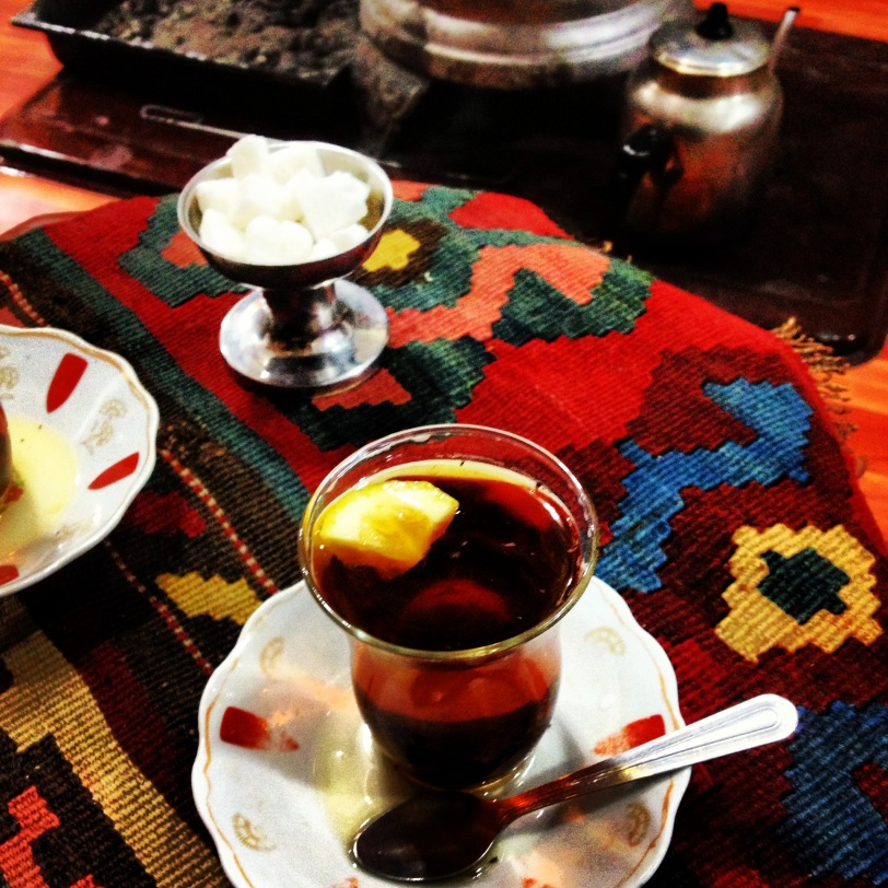 Taking tea in Erzurum