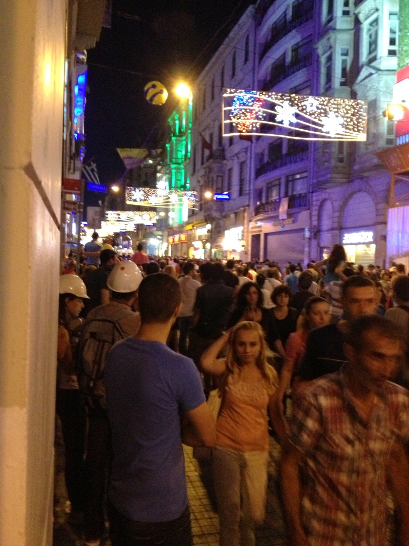 The crowded street of Istiklal by night