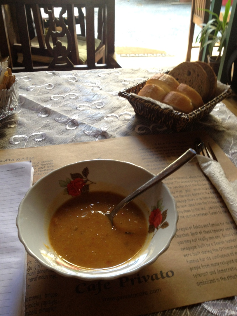 A fantastic bowl of homemade lentil soup on my last day in Turkey for a while