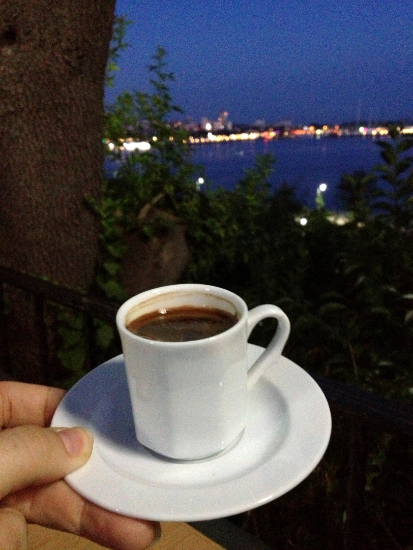 "Coffee along the sea. Yakamoz, which translates to ""phosphorescence"" is also the full view of the sea when the moon shines on it."