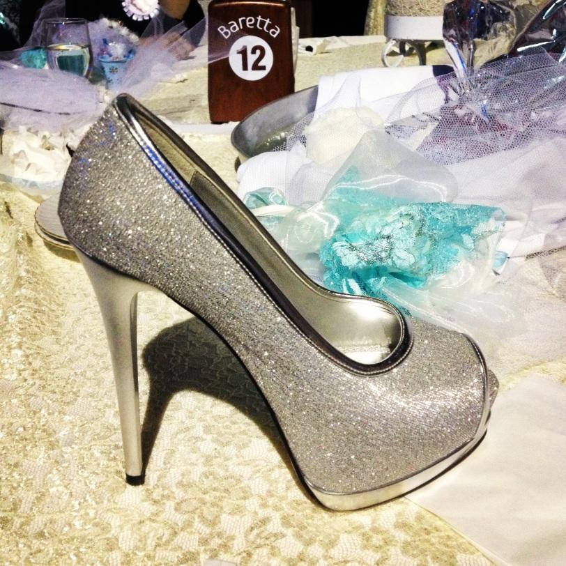 Her glittering spiky heels