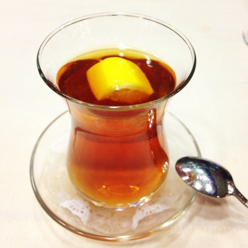 Taking tea Erzurum style, with a lemon