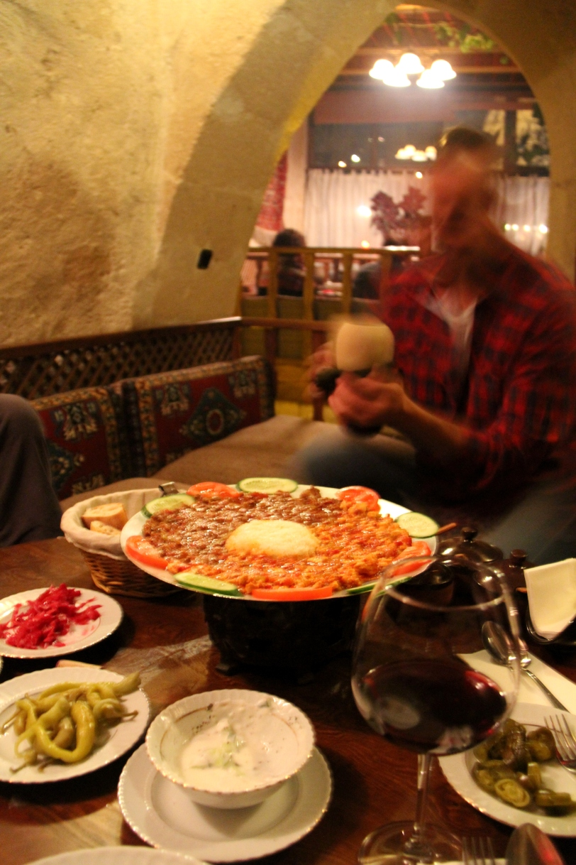 Trying various dishes at Dibek, my favorite restaurant in Goreme