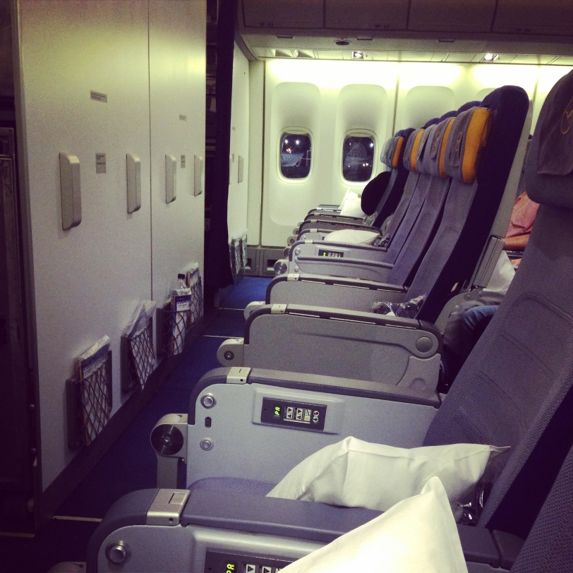Of course, the journey is easier to enjoy when you are graced with a row of empty seats on the trans-Atlantic flight!
