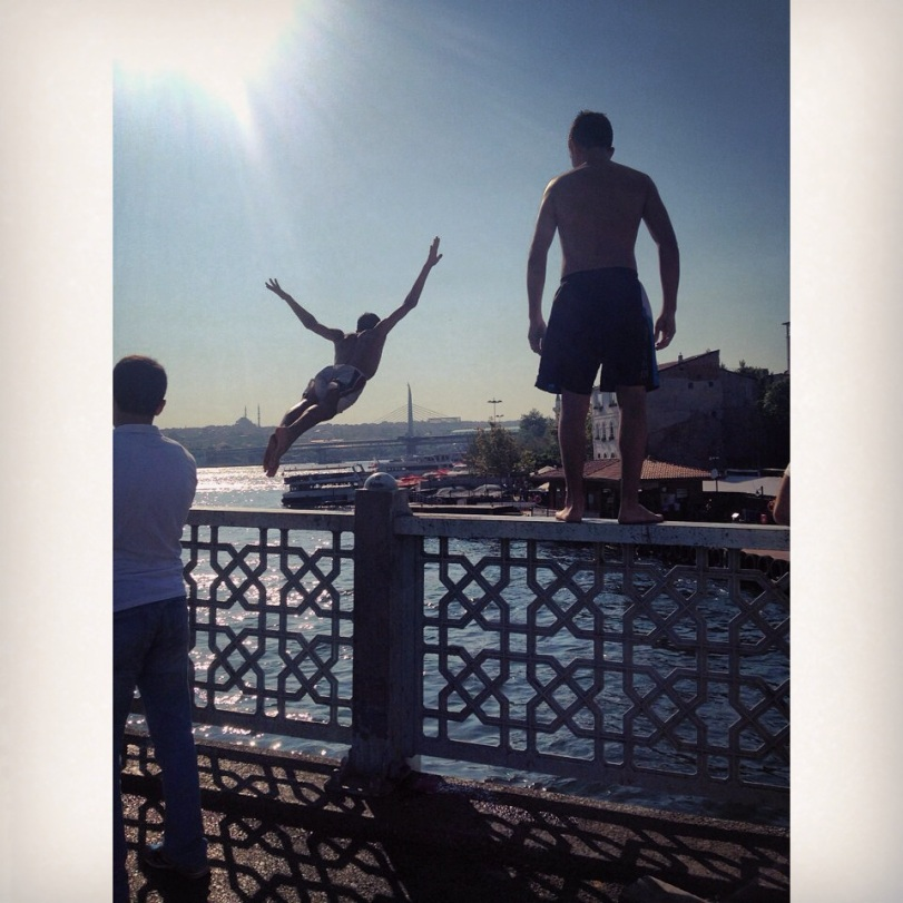 Leaping from the Galata Bridge in Istanbul