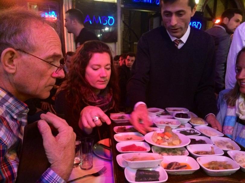 Selecting meze in Nevizade