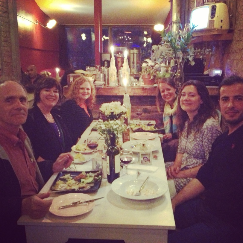 Our last dinner with mom and dad, in the neighborhoods around Galata Tower