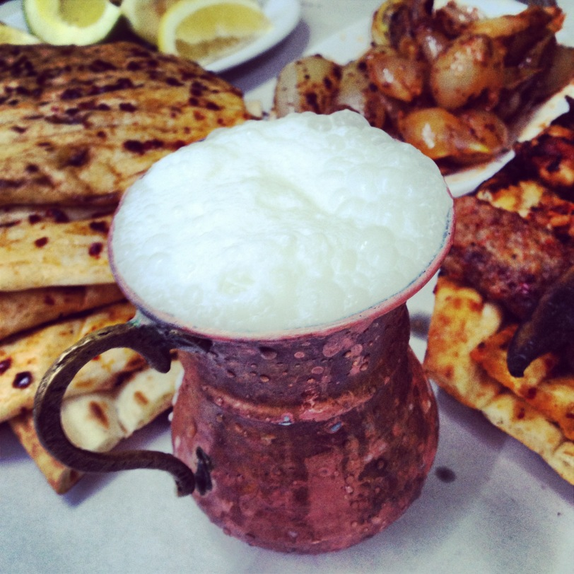 The traditional copper cup ayran is serve in helps keep it cool and frothy. If you are lucky you will be served in more of a bowl-shaped copper cup and ladle the ayran out with a deep spoon to maximize on the froth.
